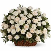 100 White Roses in Basket