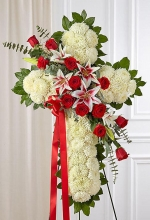 Red Rose and Lily Cross Standing Spray
