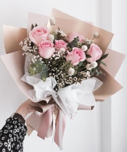 6pcs Pink Roses in Bouquet