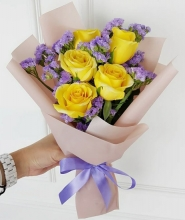 Half Dozen Yellow Roses in Bouquet