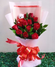 One Dozen Red Roses with FREE Bear in Bouquet