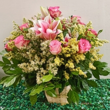 Pink Color Mixed Flower in Basket