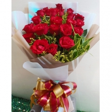 Bunch of 24 Red Color Roses Bouquet