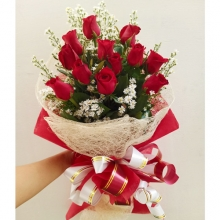 A Love Bouquet of 12 Red Roses