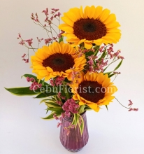 3 Pieces Sunflower in a Vase