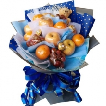 Fruits & Chocolates in Blue Bouquet
