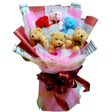 6 Pieces Teddy Bear in a Bouquet.