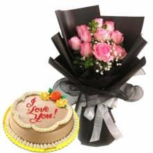 10pcs Roses with Classic Mocha Chiffon Cake By Goldilocks