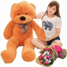 12 Pink Roses Bouquet with 4 Feet Giant Bear