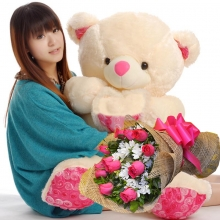 4 Feet Bear with Pink Roses