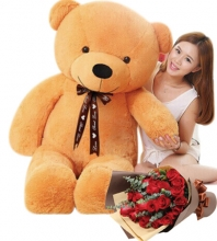 4 Feet Big Bear with 12 Red Roses Bouquet