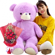 3 Feet Teddy Bear with 12 Red Roses in Bouquet