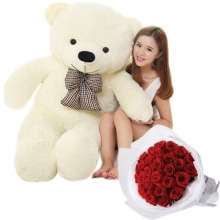 4 feet Bear with 12 Red Roses Bouquet