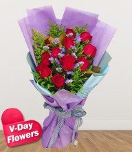10 Pcs Red Roses Bouquet (V-Day Flowers)