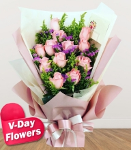 12 Pink Roses Bouquet (V-Day Flowers)