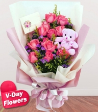 12 Pink Roses w/ Mini Bear Bouquet (V-Day Flowers)