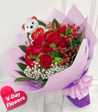 12 Red Roses w/ Mini Bear Bouquet (V-Day Flowers)