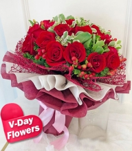 12 Red Roses with Green Leaves in Bouquet (V-Day Flowers)