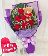 6 Red Roses w/ Mini Bear Bouquet (V-Day Flowers)