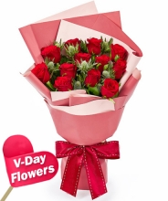 Twelve Red Roses with Green Leaves Bouquet (V-Day Flowers)