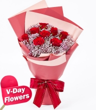 8pcs.Red Roses in Bouquet (V-Day Flowers)