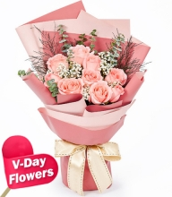 9pcs.Pink Roses in Bouquet (V-Day Flowers)