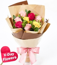 8pcs Mixed Roses in Bouquet (V-Day Flowers)