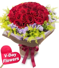 24pcs Red Roses in Bouquet (V-Day Flowers)
