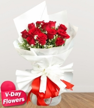 12 Red Roses in Bouquet (V-Day Flowers)