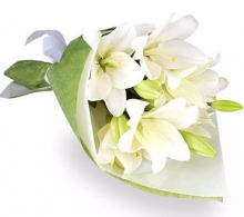 5pcs White Lilies with Fillers in a Bouquet