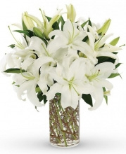 4 Stems White Lilies in a vase.
