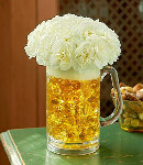 10 Pcs White Carnations in a Glass Vase