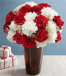 20 Mixed White & Red Carnations  in a Vase