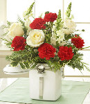 10pcs Carnations w/ White Roses in a Vase