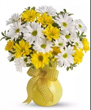 20 Yellow Gerbera with Mums in a Vase