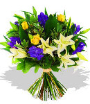 Fresh Blue & Yellow Mixed Flowers Bouquet