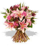 Mixed Pink Roses & Lilies Bouquet