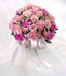 Mixed Pink & Peach Flowers in Bouquet