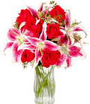 6 Red Roses & 3 Pink Lilies in Vase
