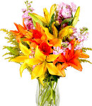 Assorted Colors of Lilies in Vase