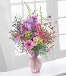 Mixed Pink Flowers in Vase