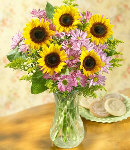 5 pcs Sunflower & Pink Malaysian Mums in a Vase