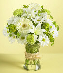 Mixed of Green & White Flowers in Vase