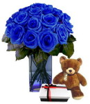 Blue Roses w/ Bear & Chocolate