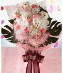 Baby Pink Roses & Bear Bouquet