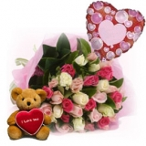 12 Roses Bouquet with Bear & Balloon