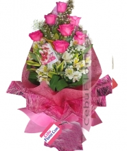 6 Pink Bouquet of Roses in Boquet