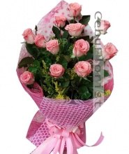 Pink Roses in Bouquet 12 pcs