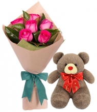 6 mix Roses in Bouquet with Bear