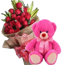12 Red Roses in Bouquet with Bear